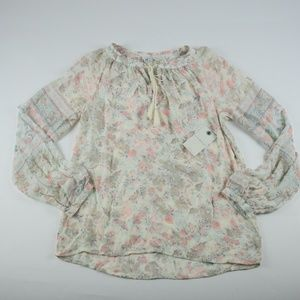 Lucky Brand Flowered Blouse with a Tie in the neck